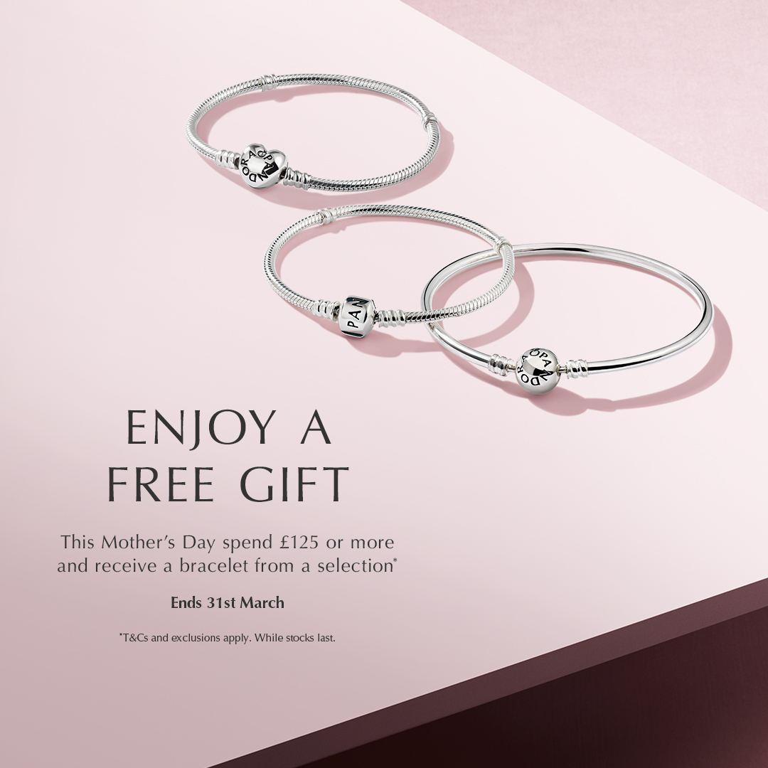 ec3663e97 This Mother's Day, spend £125 or more in store at Pandora here at Fremlin  Walk to receive a silver bracelet, or spend £145 or more to receive a rose  gold ...
